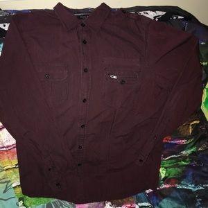 Mens button down long sleeve casual shirt